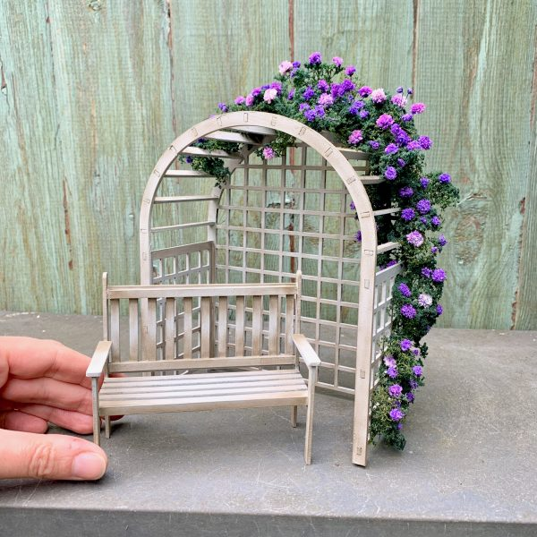 DIY Kit - 1:12 Scale Pergola and Bench Miniature Dolls House Garden Furniture Accessory